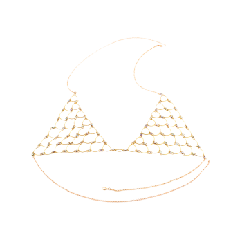 Rhinestone Triangle Bra Body Jewelry - GOLDEN