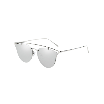 Metallic Crossbar Mirrored Butterfly Sunglasses SILVER