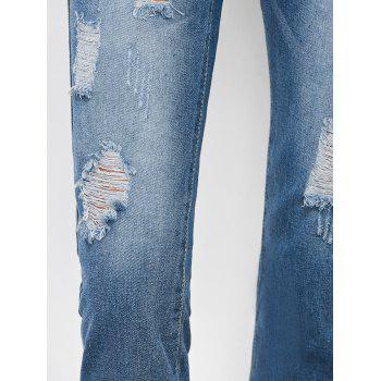 Ripped Cropped Jeans - DENIM BLUE XL