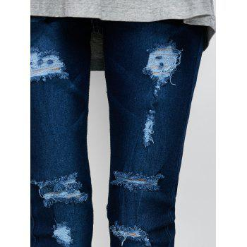 Low Rise Ripped Skinny Jeans - DEEP BLUE L