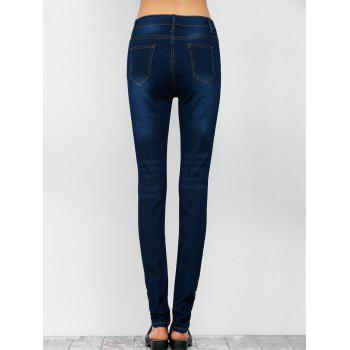 Low Rise Ripped Pencil Jeans - Bleu Foncé L