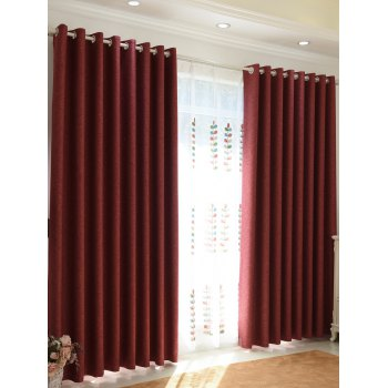 1Pcs Home Decor Shading Blackout Perforated Window Curtain - BRICK-RED BRICK RED