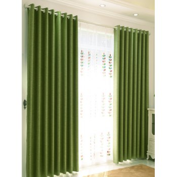 1Pcs Home Decor Shading Blackout Perforated Window Curtain - GREEN 100*250CM