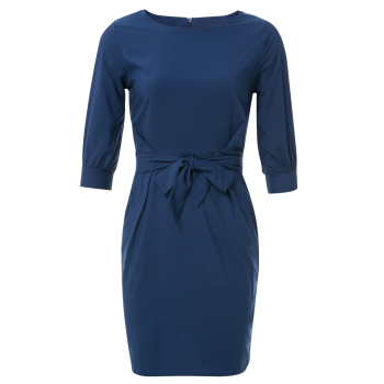 Sheath Boat Neck Dress With Belt - PURPLISH BLUE XL