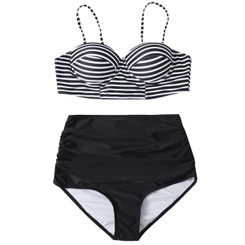 Cami Striped High Waist Bikini Set - BLACK L