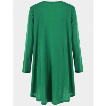 Long Sleeve Plus Size Asymmetrical Longline T-Shirt - GREEN XL