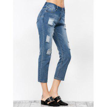 Ripped Cropped Jeans - DENIM BLUE S