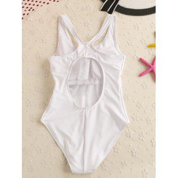 Printed Cut Out One Piece Swimwear - WHITE M