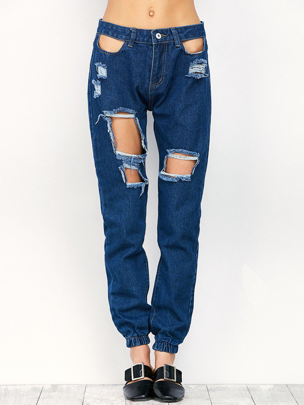Ripped Pencil Jogger Jeans - Bleu L