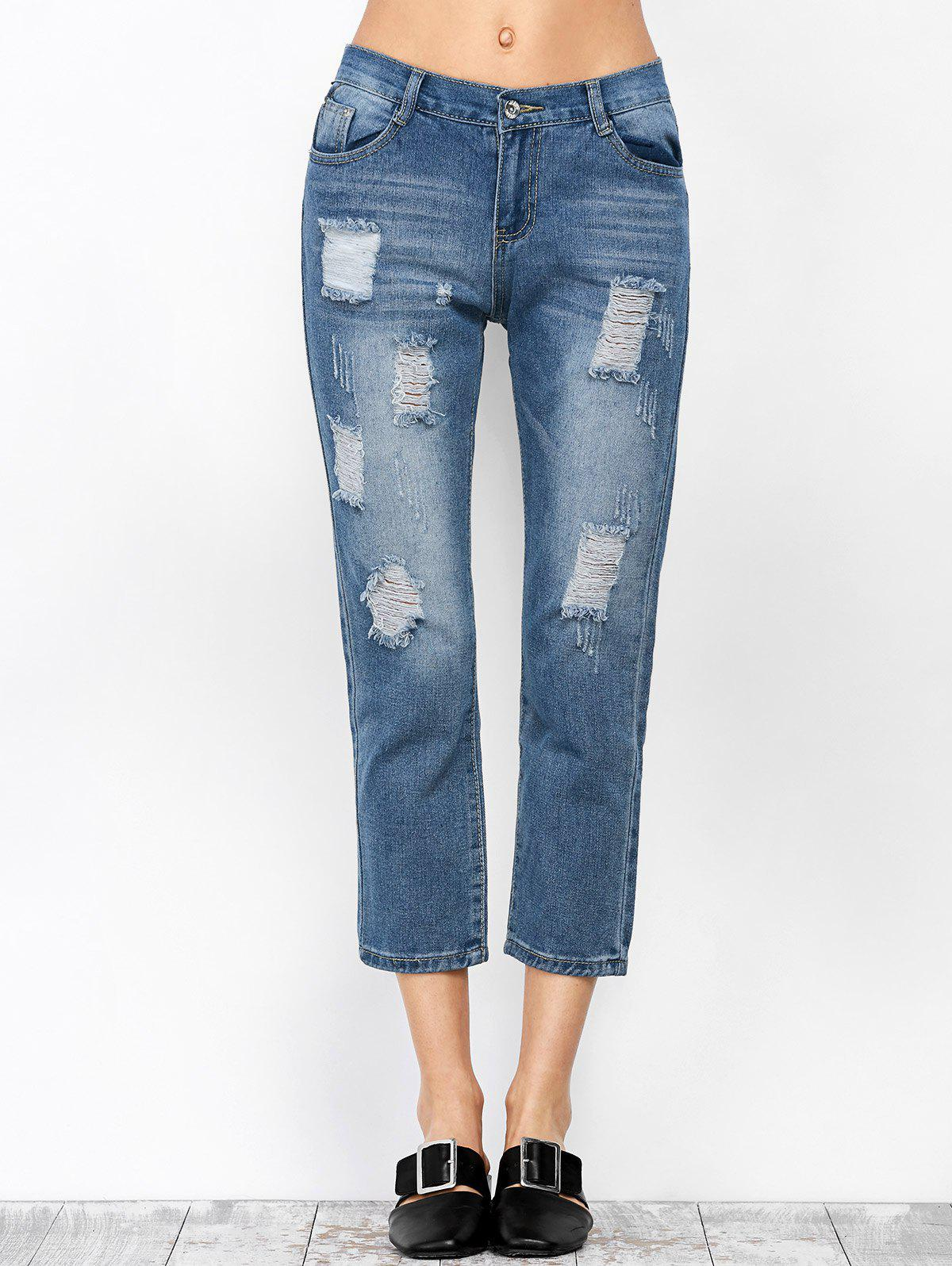 Ripped Pantacourt Jeans - Denim Bleu L