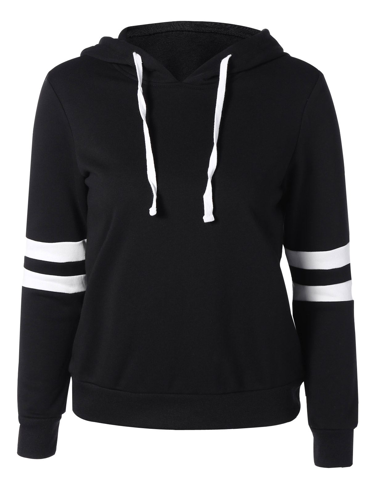 Long Sleeve Sports Color Block Hoodie - BLACK XL