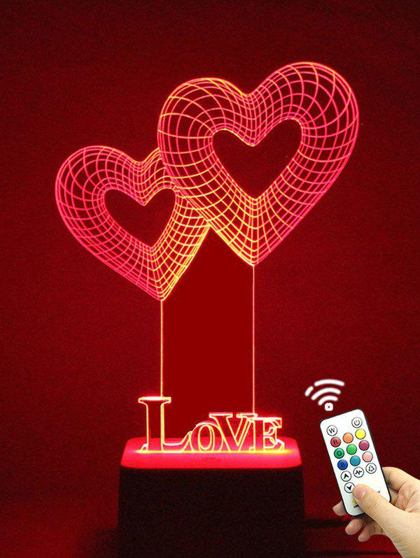 Colorful LED 3D Visual Heart Shape Touch Night Light With Remote Control valentine day gift 3d arrow through heart colorful touch night light