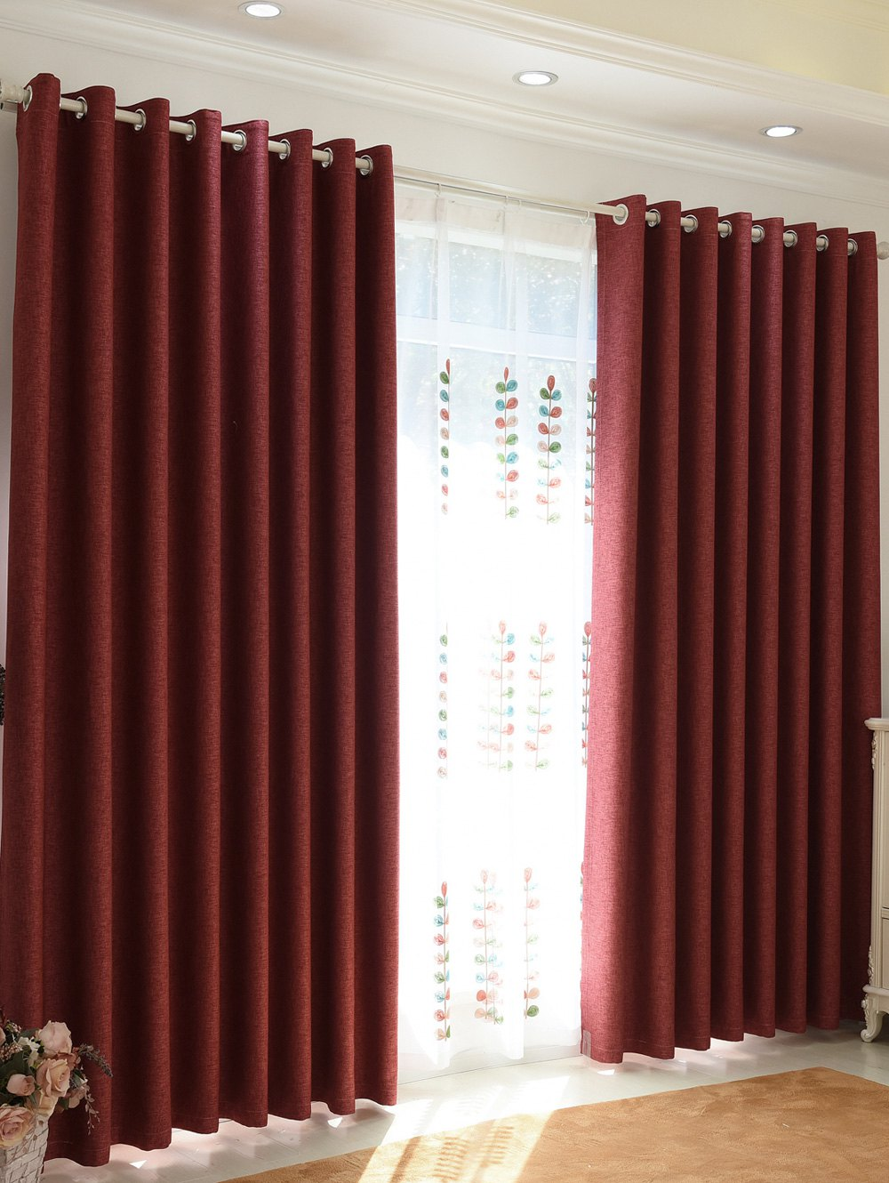 Home Decor Shading Blackout Perforated Window Curtain - Brique 100*250CM