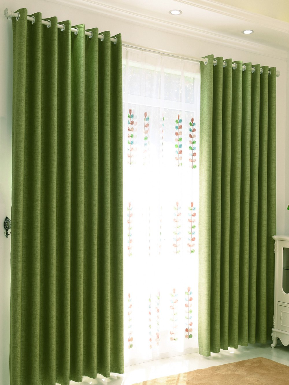 Home Decor Shading Blackout Perforated Window Curtain - Vert 100*250CM