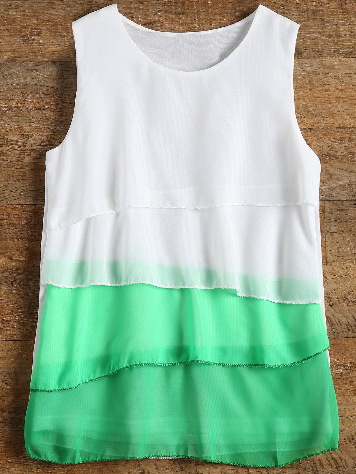 Sleeveless Tiered Color Block Blouse - GREEN L