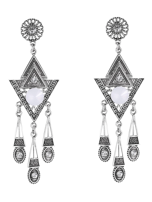 Rhinestone Triangle Earrings - SILVER
