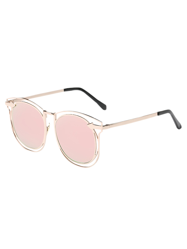 Stylish Arrow Hollow Out Mirrored Sunglasses - PINK
