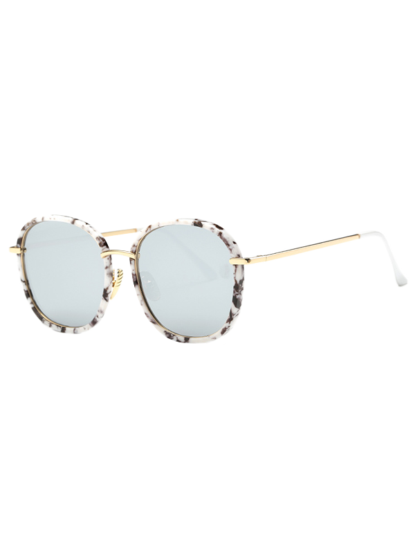Street Marble Oversized Square Mirrored Sunglasses - WHITE