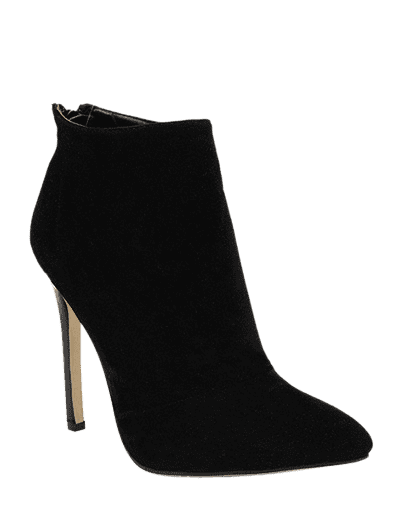 Zip Pointed Toe Ankle Boots - BLACK 38