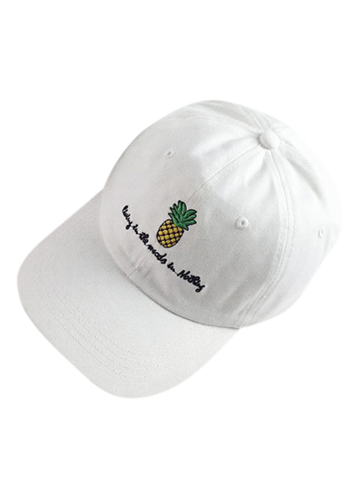 Chic Pineapple Baseball Cap For Women - WHITE