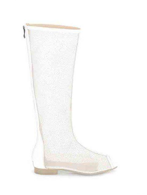 Sexy Splicing and Gauze Design Peep Toe Shoes For Women - WHITE 37