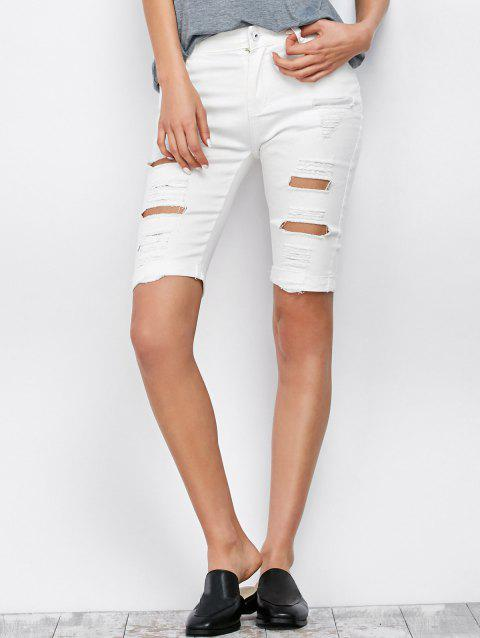 Ripped Bermuda Denim Long Shorts - WHITE M