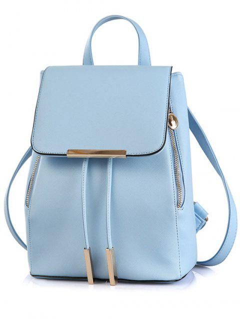 Preppy Cover and Solid Color Design Satchel For Women - BLUE