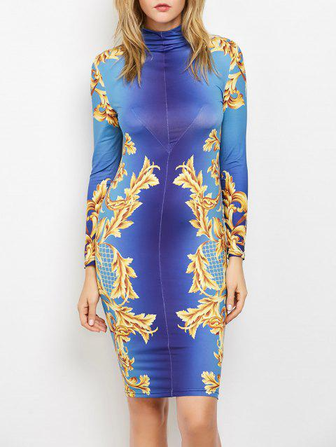 High Neck Long Sleeve Knee Length Tight Dress - BLUE S