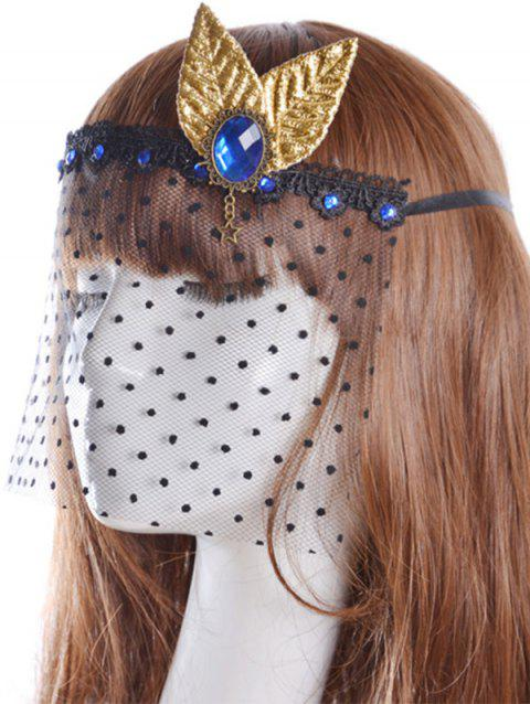 Leaf Faux Sapphire Hair Accessory Party Mask - BLACK