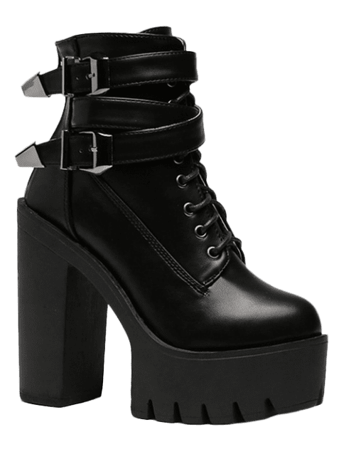 Stylish Tie Up and Double Buckle Design Women's Short Boots - BLACK 37