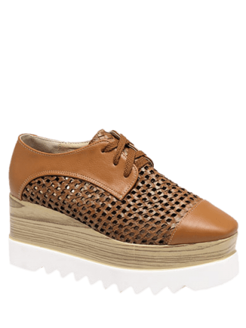 Trendy Hollow Out and Lace-Up Design Women's Platform Shoes - LIGHT BROWN 40