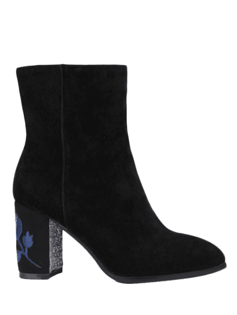 Embroidery Sequins Flower Pattern Ankle Boots - BLACK 39