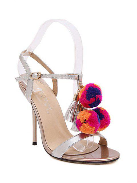Trendy Pompon and T-Strap Design Sandals For Women - SILVER 36