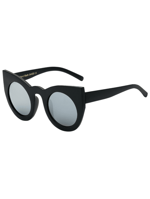 Funny Round Lens Mirrored Cat Eye Sunglasses - BLACK