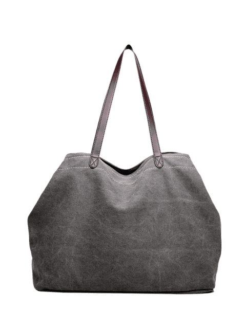 Leisure Stitching Canvas Shoulder Bag - GRAY