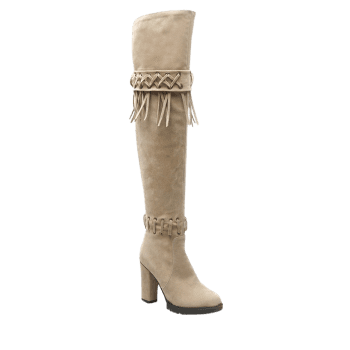 Criss-Cross Chunky Heel Fringe Thigh Boots
