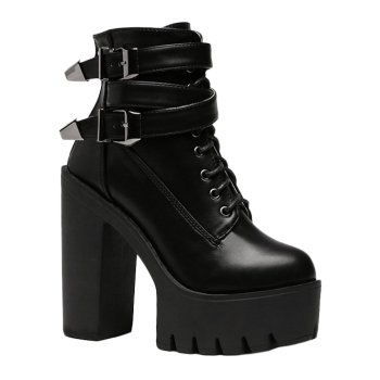 Stylish Tie Up and Double Buckle Design Women's Short Boots