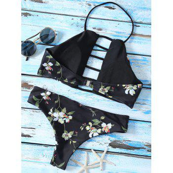 High Neck Floral Cutout Strappy Bikini Swimsuit - BLACK M