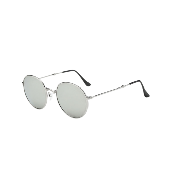 Vintage Metal Cambered Nose Bridge Oval Mirror Sunglasses