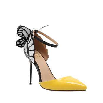 Trendy Butterfly and Ankle Strap Design Pumps For Women - YELLOW 37