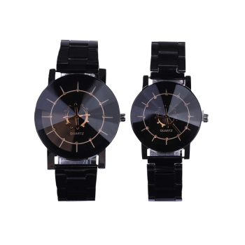 Stainless Steel Strap Couple Quartz Watch - BLACK BLACK