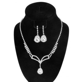 Water Drop Rhinestone Necklace and Earrings