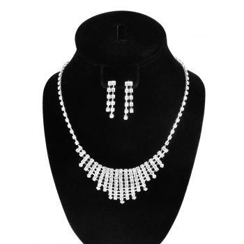 Openwork Rhinestone Necklace and Earrings
