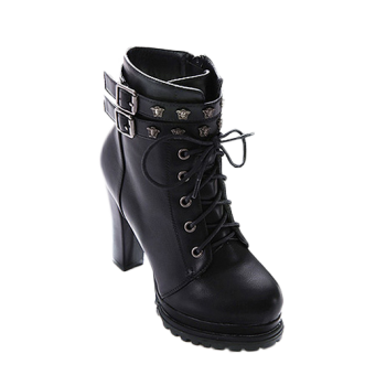 Lace-Up Metal Double Buckle Ankle Boots