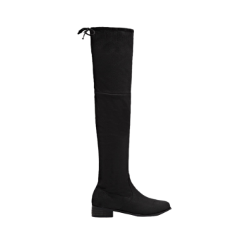 Zip Tie Up Flat Heel Thigh Boots