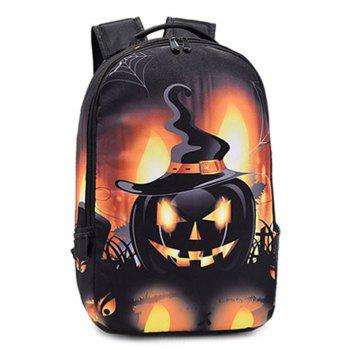 Color Spliced Pumpkin Printed Halloween Backpack