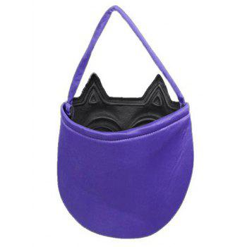 Halloween Color Block Mask Pattern Handbag -  BLACK