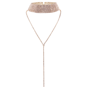 Long Rhinestoned Wide Choker Necklace