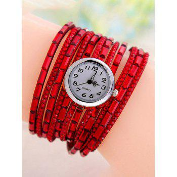 Quartz Rhinestone Wrap Bracelet Watch