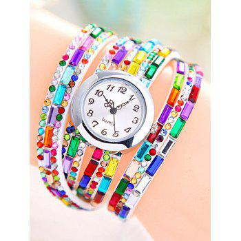 Quartz Faux Gem Wrap Bracelet Watch